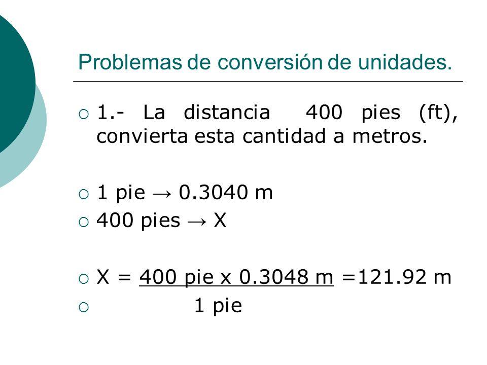 Problemas de conversión de unidades. 1.- La distancia 400 pies (ft), convierta esta cantidad a metros. 1 pie 0.3040 m 400 pies X X = 400 pie x 0.3048