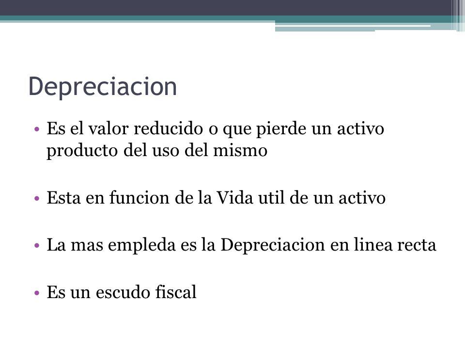Depreciacion Es el valor reducido o que pierde un activo producto del uso del mismo Esta en funcion de la Vida util de un activo La mas empleda es la