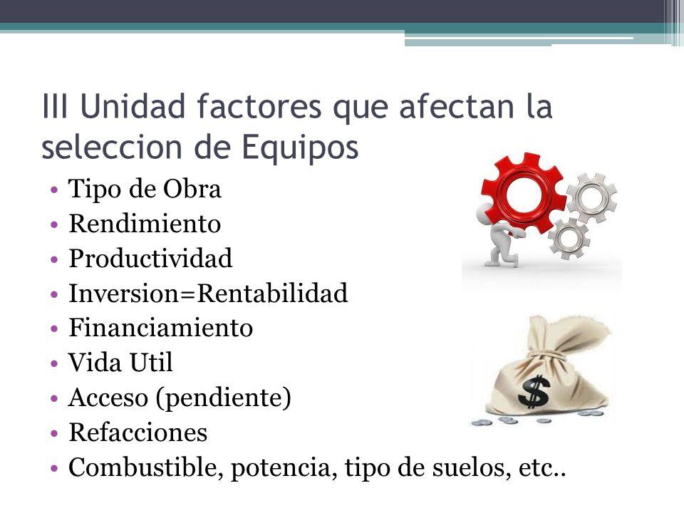 III Unidad factores que afectan la seleccion de Equipos Tipo de Obra Rendimiento Productividad Inversion=Rentabilidad Financiamiento Vida Util Acceso