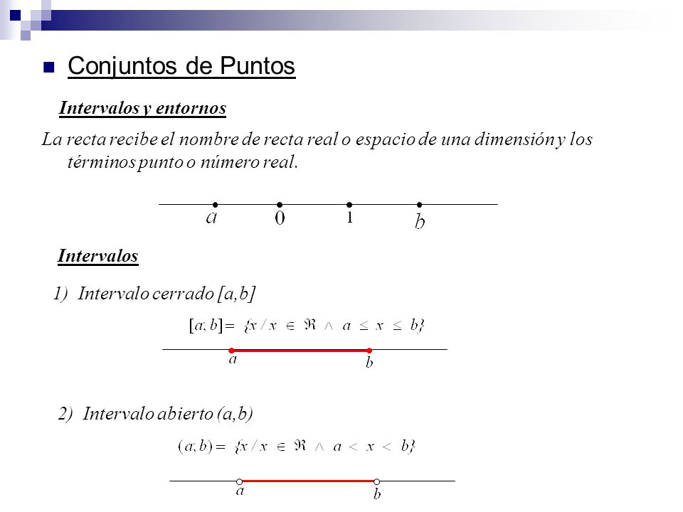 Conjuntos de Puntos La recta recibe el nombre de recta real o espacio de una dimensión y los términos punto o número real. 2) Intervalo abierto (a,b)