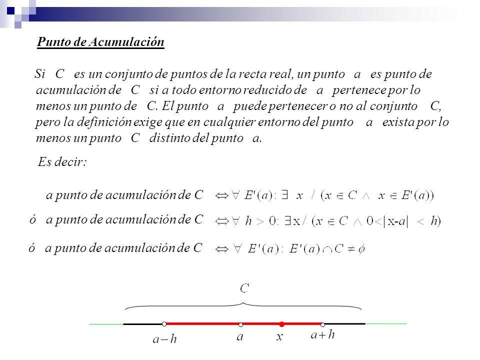 Si C es un conjunto de puntos de la recta real, un punto a es punto de acumulación de C si a todo entorno reducido de a pertenece por lo menos un punt