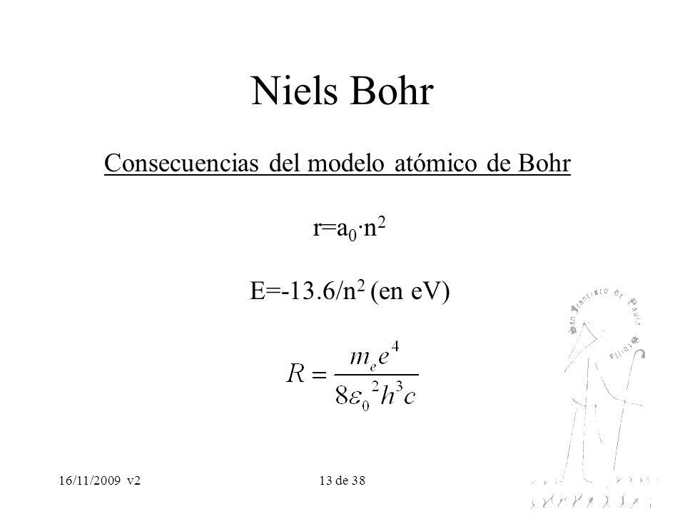 16/11/2009v213 de 38 Niels Bohr Consecuencias del modelo atómico de Bohr r=a 0 ·n 2 E=-13.6/n 2 (en eV)