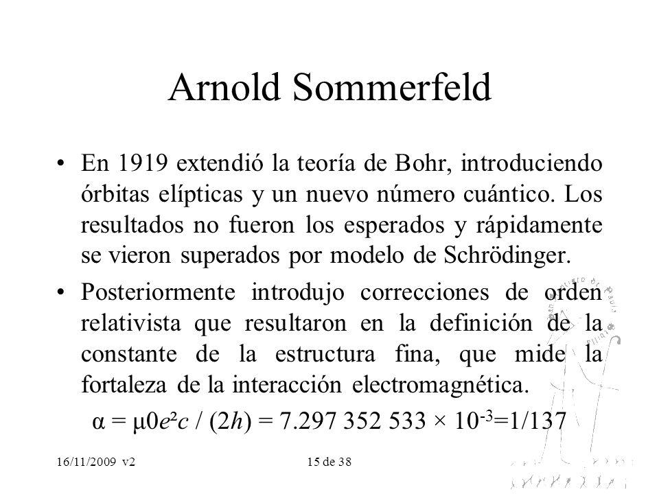 16/11/2009v215 de 38 Arnold Sommerfeld En 1919 extendió la teoría de Bohr, introduciendo órbitas elípticas y un nuevo número cuántico. Los resultados