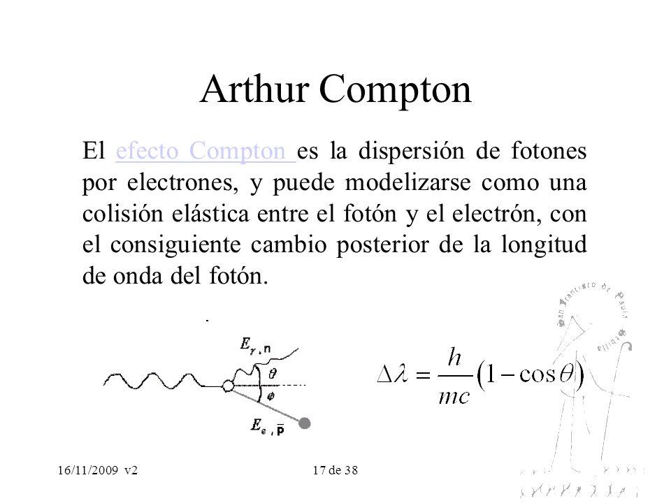 16/11/2009v217 de 38 Arthur Compton El efecto Compton es la dispersión de fotones por electrones, y puede modelizarse como una colisión elástica entre