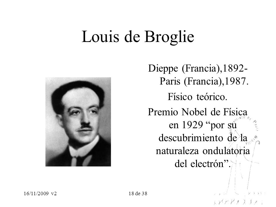 16/11/2009v218 de 38 Louis de Broglie Dieppe (Francia),1892- Paris (Francia),1987. Físico teórico. Premio Nobel de Física en 1929 por su descubrimient