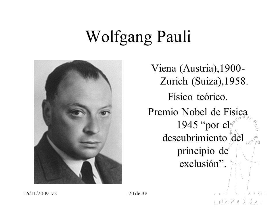 16/11/2009v220 de 38 Wolfgang Pauli Viena (Austria),1900- Zurich (Suiza),1958. Físico teórico. Premio Nobel de Física 1945 por el descubrimiento del p