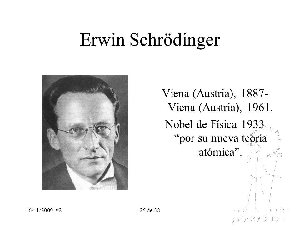 16/11/2009v225 de 38 Erwin Schrödinger Viena (Austria), 1887- Viena (Austria), 1961. Nobel de Física 1933 por su nueva teoría atómica.