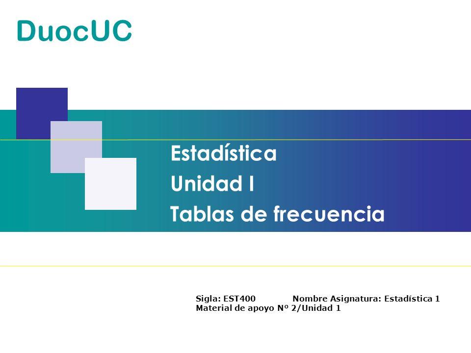 Estadística Unidad I Tablas de frecuencia DuocUC Sigla: EST400 Nombre Asignatura: Estadística 1 Material de apoyo Nº 2/Unidad 1