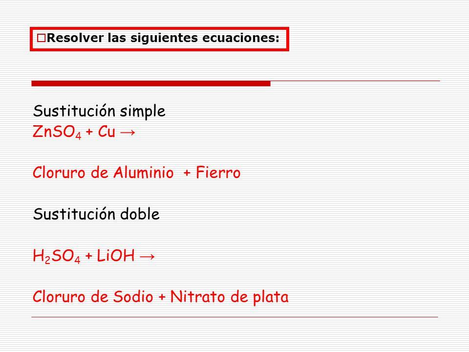 Sustitución simple ZnSO 4 + Cu Cloruro de Aluminio + Fierro Sustitución doble H 2 SO 4 + LiOH Cloruro de Sodio + Nitrato de plata Resolver las siguien