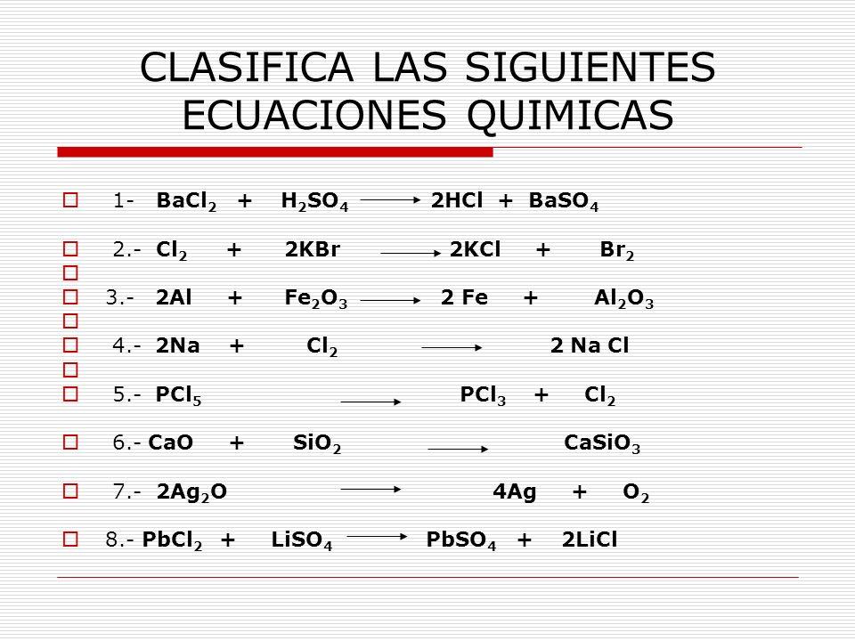 CLASIFICA LAS SIGUIENTES ECUACIONES QUIMICAS 1- BaCl 2 + H 2 SO 4 2HCl + BaSO 4 2.- Cl 2 + 2KBr 2KCl + Br 2 3.- 2Al + Fe 2 O 3 2 Fe + Al 2 O 3 4.- 2Na