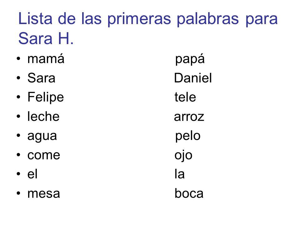 mamá papá Sara Daniel Felipe tele leche arroz agua pelo come ojo el la mesa boca Lista de las primeras palabras para Sara H.
