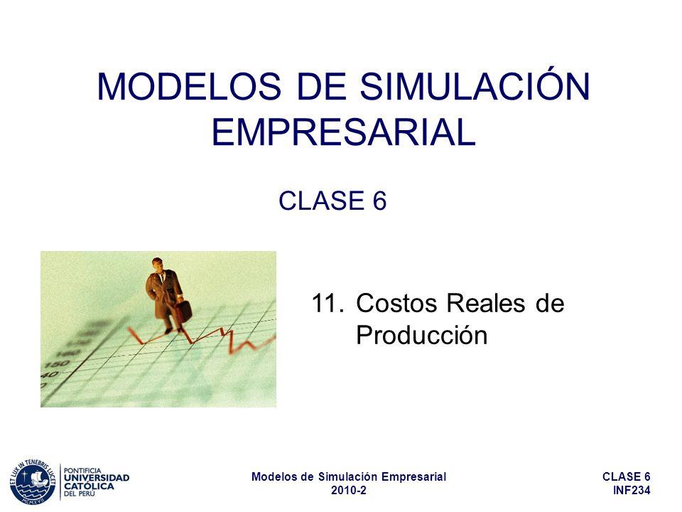 CLASE 6 INF234 Modelos de Simulación Empresarial 2010-2 MODELOS DE SIMULACIÓN EMPRESARIAL CLASE 6 11. Costos Reales de Producción