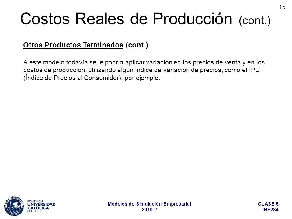 CLASE 6 INF234 Modelos de Simulación Empresarial 2010-2 15 Costos Reales de Producción (cont.) Otros Productos Terminados (cont.) A este modelo todaví