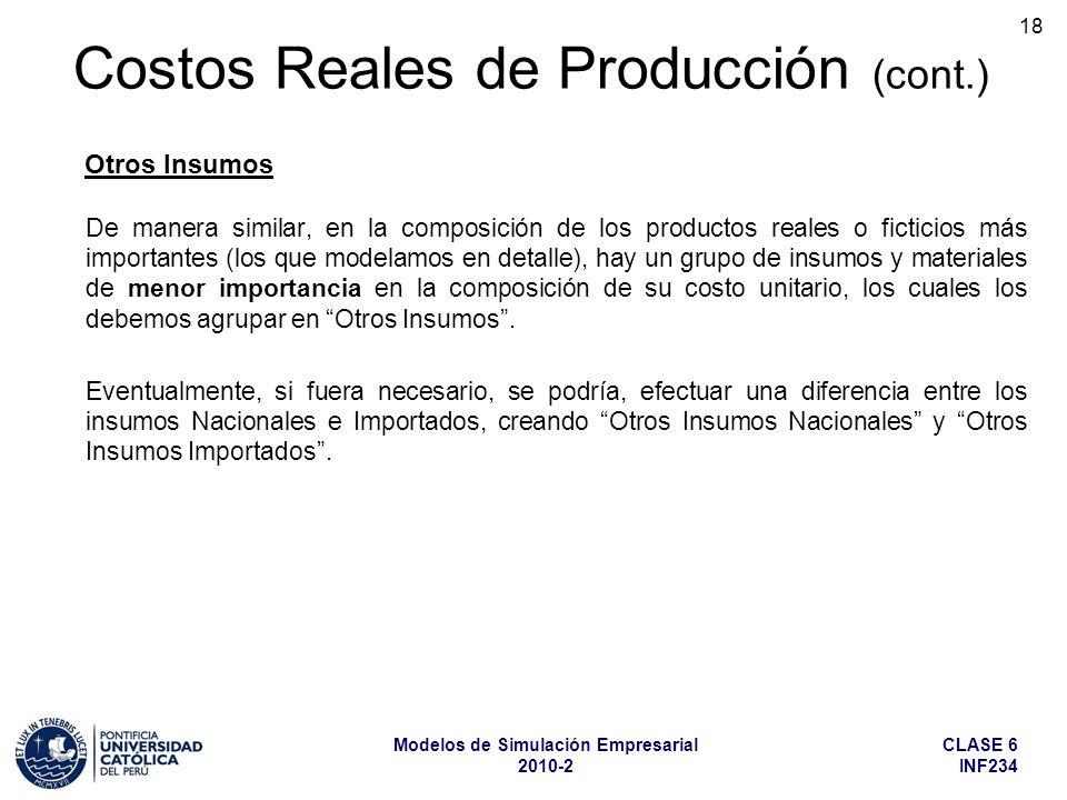 CLASE 6 INF234 Modelos de Simulación Empresarial 2010-2 18 De manera similar, en la composición de los productos reales o ficticios más importantes (l