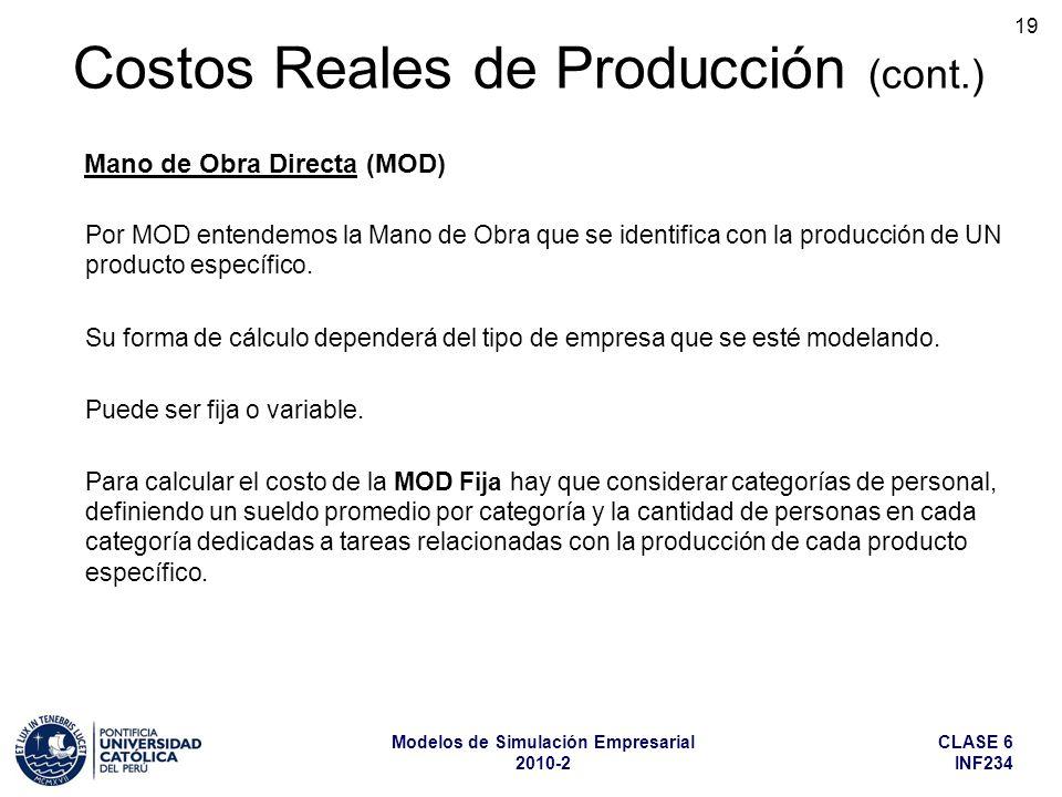 CLASE 6 INF234 Modelos de Simulación Empresarial 2010-2 19 Por MOD entendemos la Mano de Obra que se identifica con la producción de UN producto espec