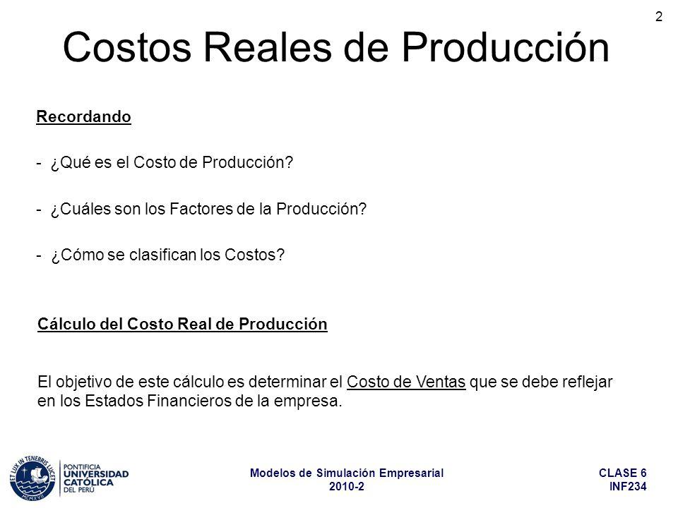 CLASE 6 INF234 Modelos de Simulación Empresarial 2010-2 2 Costos Reales de Producción Recordando - ¿Qué es el Costo de Producción? - ¿Cuáles son los F