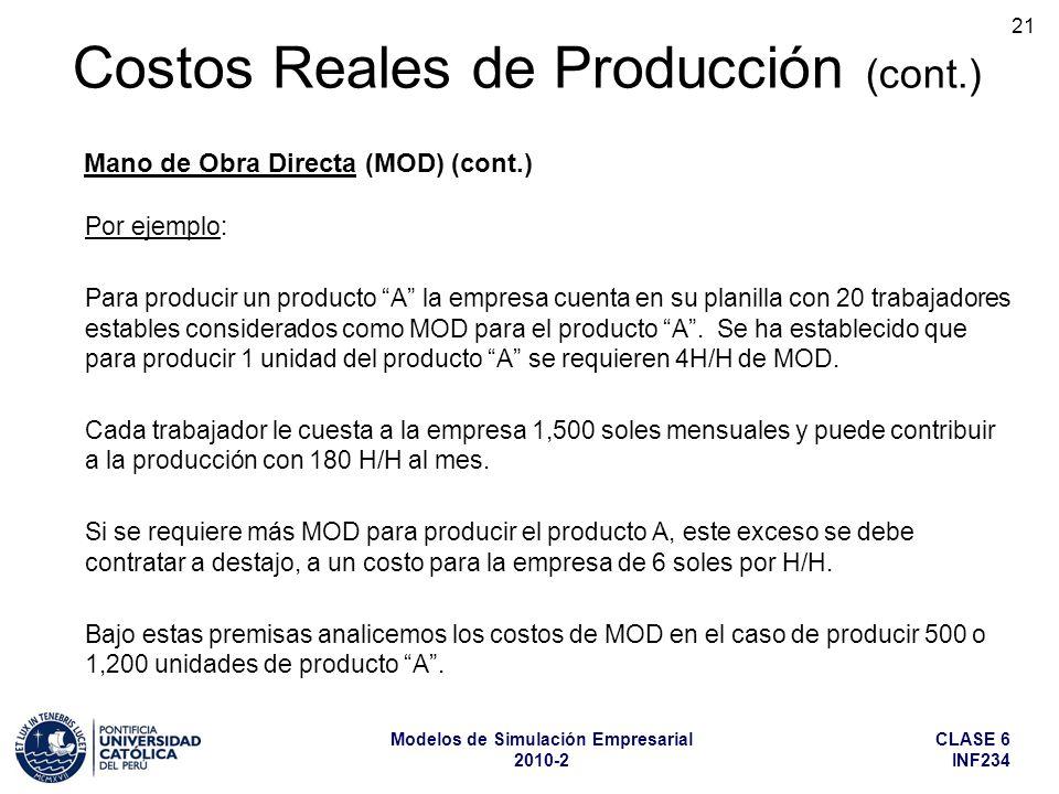 CLASE 6 INF234 Modelos de Simulación Empresarial 2010-2 21 Por ejemplo: Para producir un producto A la empresa cuenta en su planilla con 20 trabajador