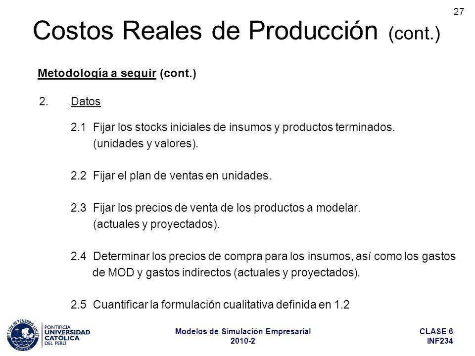CLASE 6 INF234 Modelos de Simulación Empresarial 2010-2 27 2.Datos 2.1 Fijar los stocks iniciales de insumos y productos terminados. (unidades y valor
