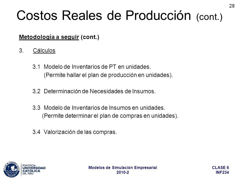 CLASE 6 INF234 Modelos de Simulación Empresarial 2010-2 28 3.Cálculos 3.1 Modelo de Inventarios de PT en unidades. (Permite hallar el plan de producci