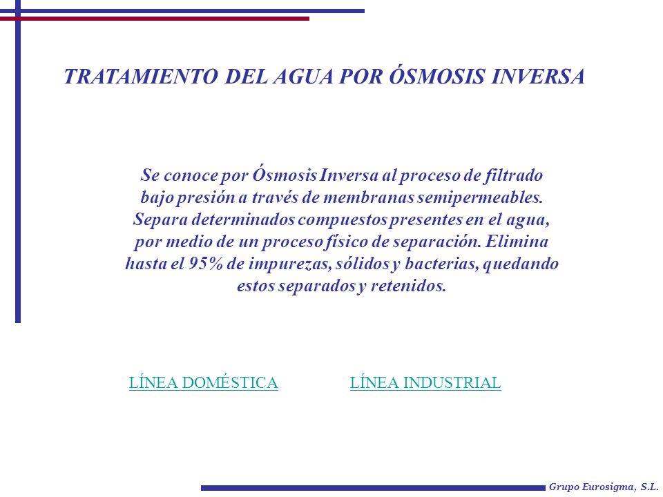 TRATAMIENTO DEL AGUA POR ÓSMOSIS INVERSA Grupo Eurosigma, S.L. LÍNEA DOMÉSTICALÍNEA INDUSTRIAL Se conoce por Ósmosis Inversa al proceso de filtrado ba