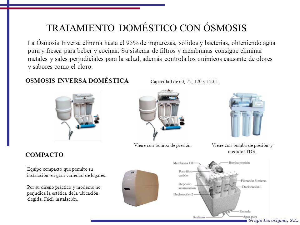 TRATAMIENTO DOMÉSTICO CON ÓSMOSIS La Ósmosis Inversa elimina hasta el 95% de impurezas, sólidos y bacterias, obteniendo agua pura y fresca para beber