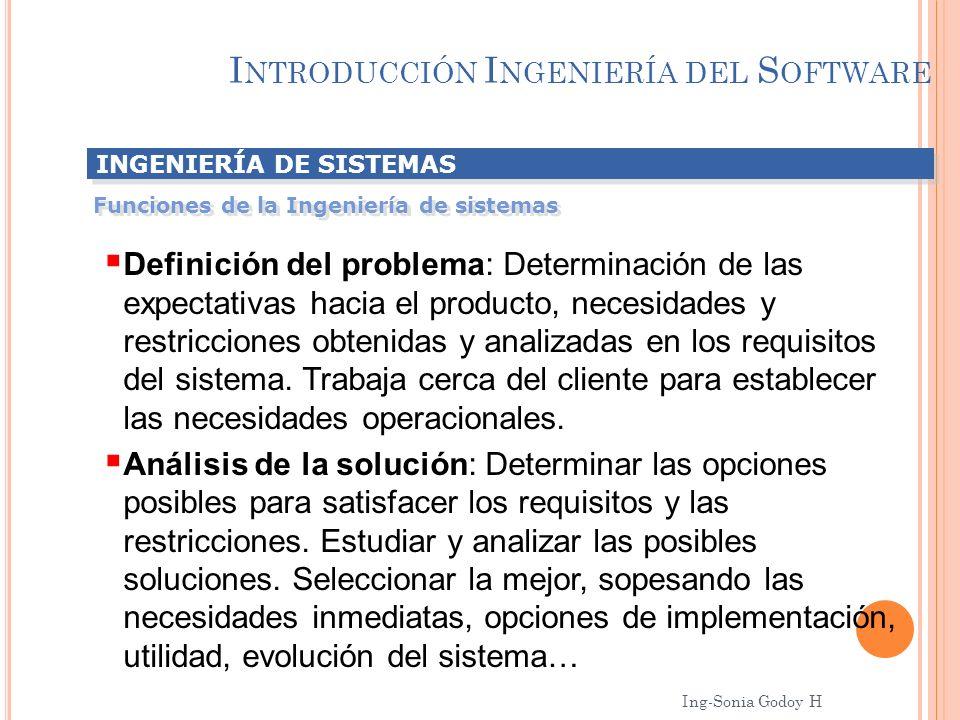I NTRODUCCIÓN I NGENIERÍA DEL S OFTWARE INGENIERÍA DE SISTEMAS Funciones de la Ingeniería de sistemas Definición del problema: Determinación de las ex