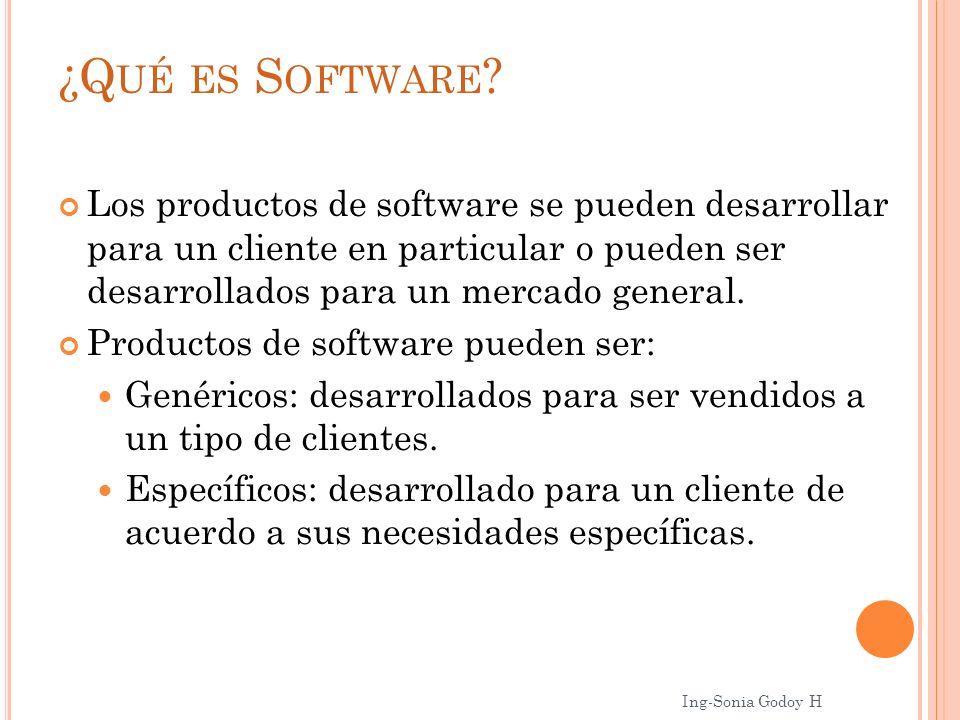 ¿Q UÉ ES S OFTWARE ? Los productos de software se pueden desarrollar para un cliente en particular o pueden ser desarrollados para un mercado general.