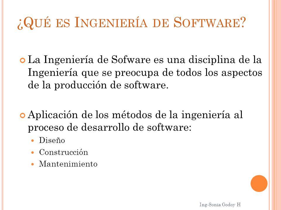 ¿Q UÉ ES I NGENIERÍA DE S OFTWARE ? La Ingeniería de Sofware es una disciplina de la Ingeniería que se preocupa de todos los aspectos de la producción