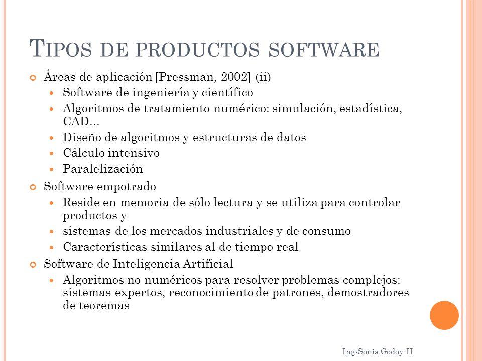 T IPOS DE PRODUCTOS SOFTWARE Áreas de aplicación [Pressman, 2002] (ii) Software de ingeniería y científico Algoritmos de tratamiento numérico: simulac