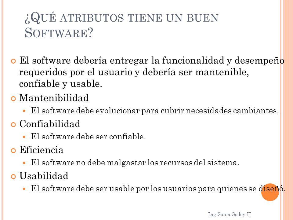 ¿Q UÉ ATRIBUTOS TIENE UN BUEN S OFTWARE ? El software debería entregar la funcionalidad y desempeño requeridos por el usuario y debería ser mantenible