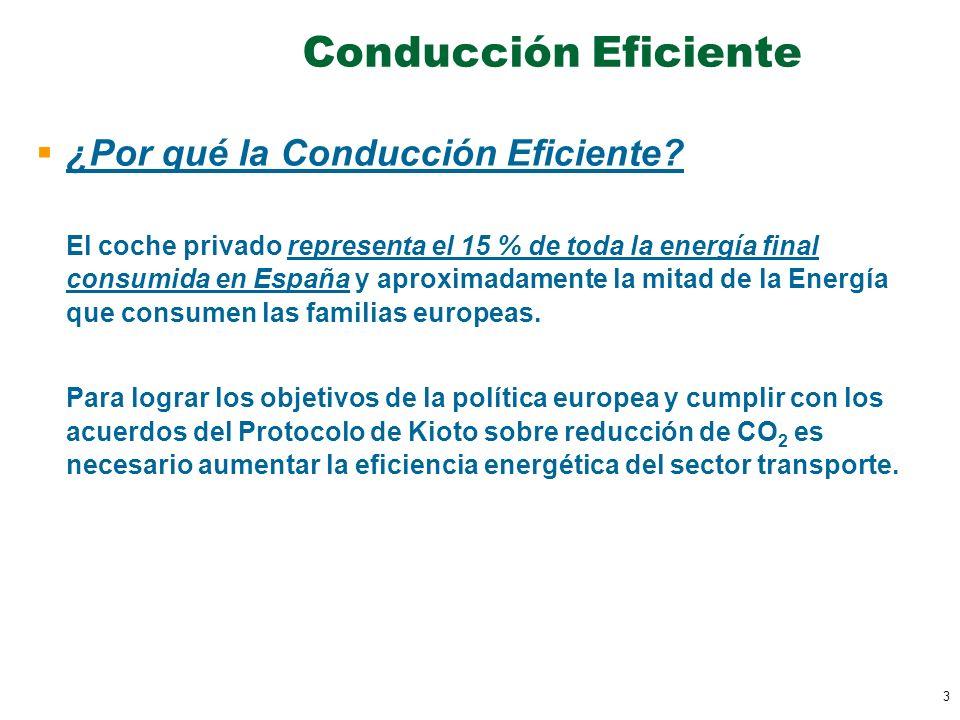 3 Conducción Eficiente ¿Por qué la Conducción Eficiente? El coche privado representa el 15 % de toda la energía final consumida en España y aproximada