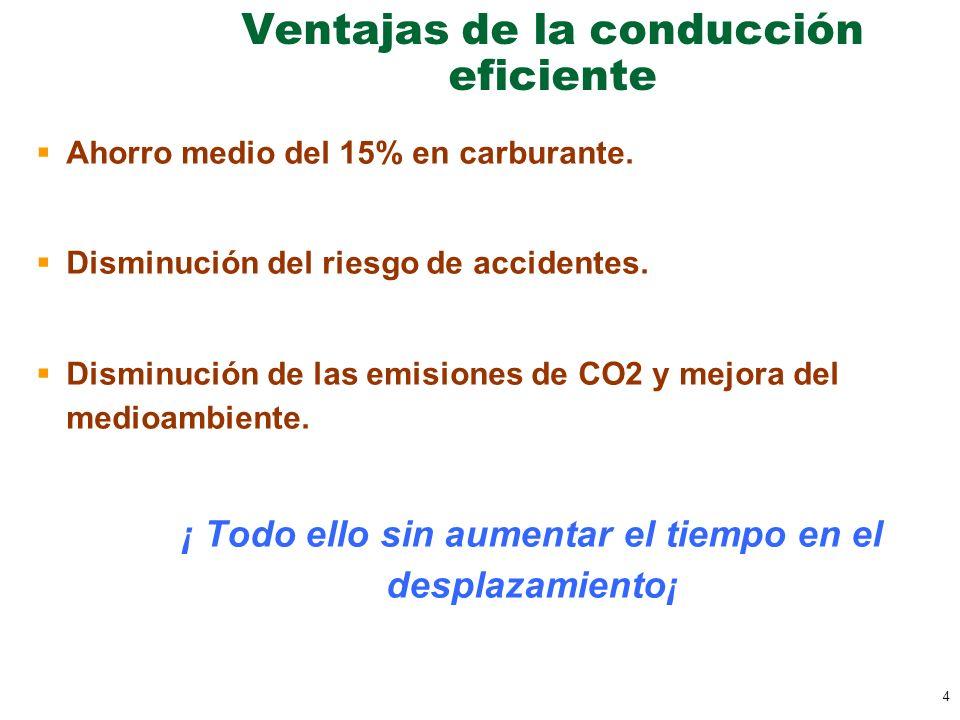 4 Ventajas de la conducción eficiente Ahorro medio del 15% en carburante. Disminución del riesgo de accidentes. Disminución de las emisiones de CO2 y