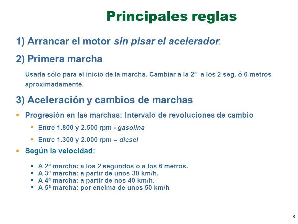 8 Principales reglas 1) Arrancar el motor sin pisar el acelerador. 2) Primera marcha Usarla sólo para el inicio de la marcha. Cambiar a la 2ª a los 2