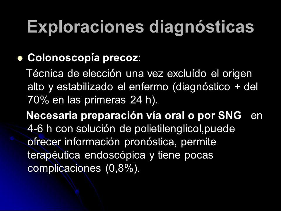 Exploraciones diagnósticas Colonoscopía precoz: Técnica de elección una vez excluído el origen alto y estabilizado el enfermo (diagnóstico + del 70% e