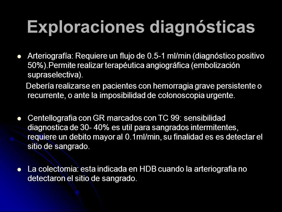 Exploraciones diagnósticas Arteriografía: Requiere un flujo de 0.5-1 ml/min (diagnóstico positivo 50%).Permite realizar terapéutica angiográfica (embo
