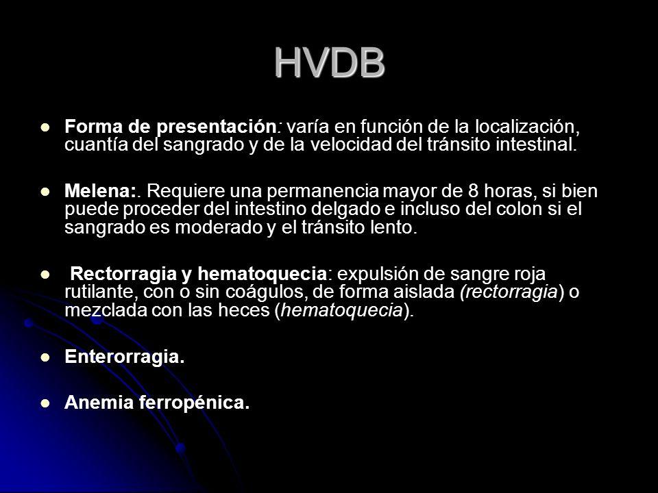 HVDB Forma de presentación: varía en función de la localización, cuantía del sangrado y de la velocidad del tránsito intestinal. Melena:. Requiere una