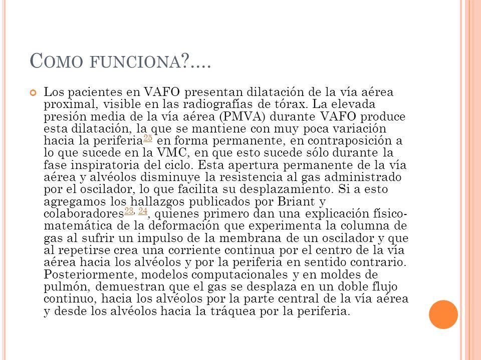 C OMO FUNCIONA ?.... Los pacientes en VAFO presentan dilatación de la vía aérea proximal, visible en las radiografías de tórax. La elevada presión med