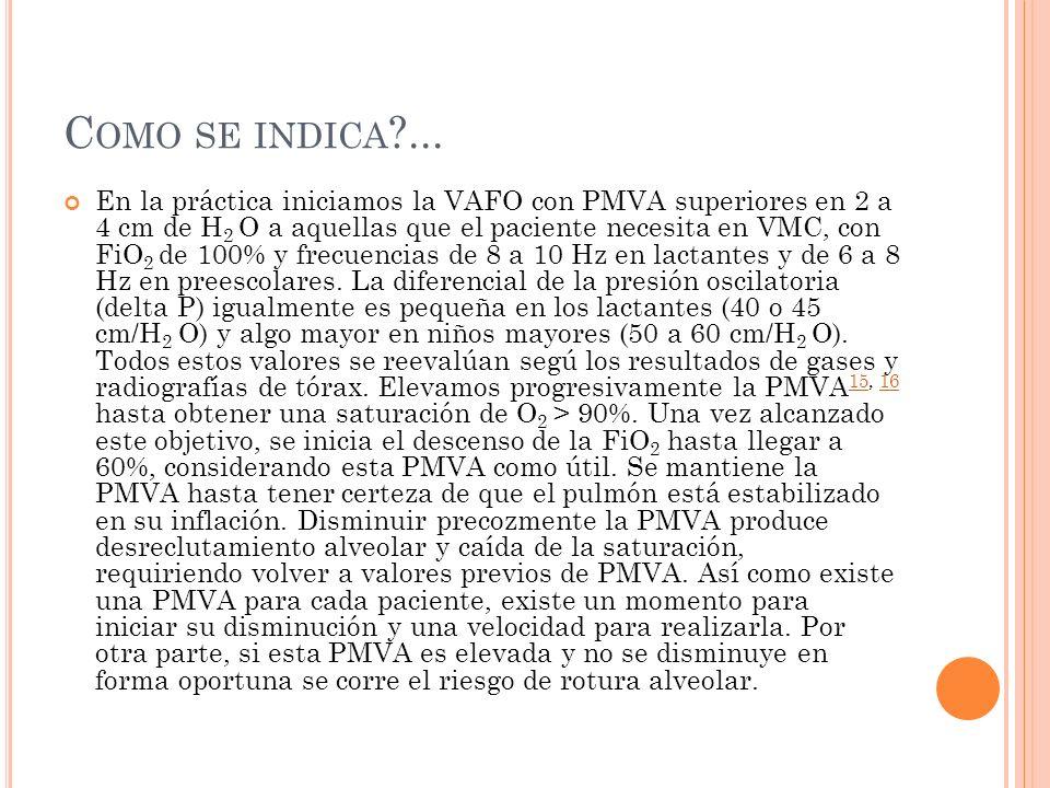 C OMO SE INDICA ?... En la práctica iniciamos la VAFO con PMVA superiores en 2 a 4 cm de H 2 O a aquellas que el paciente necesita en VMC, con FiO 2 d