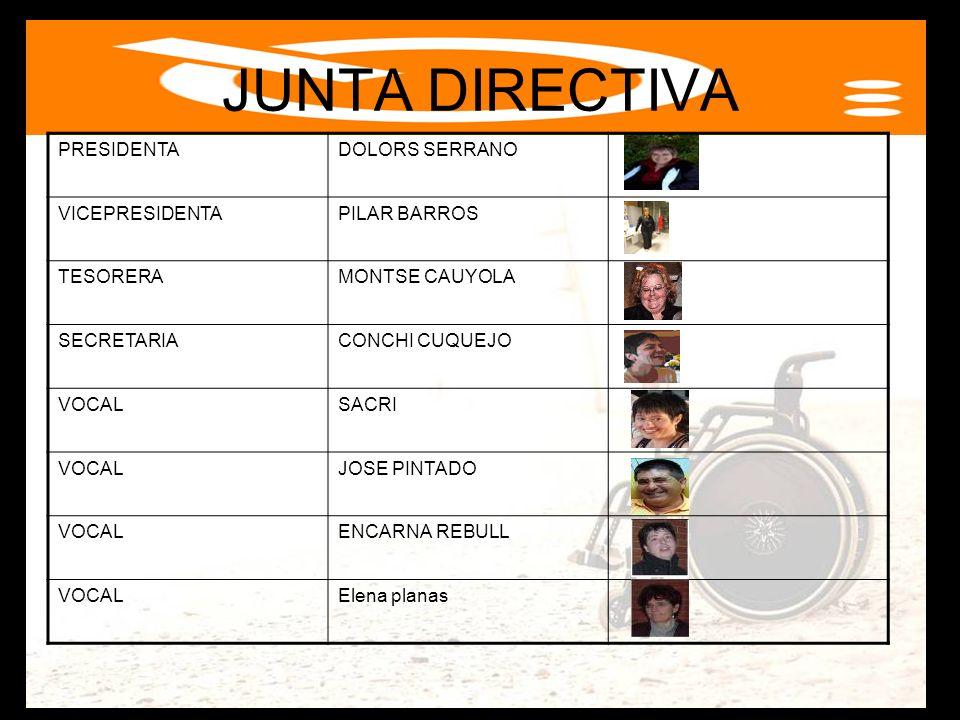 PRESIDENTADOLORS SERRANO VICEPRESIDENTAPILAR BARROS TESORERAMONTSE CAUYOLA SECRETARIACONCHI CUQUEJO VOCALSACRI VOCALJOSE PINTADO VOCALENCARNA REBULL V