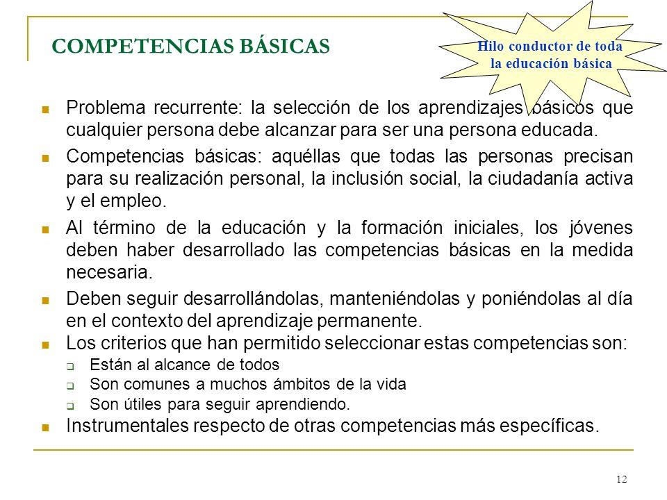 12 COMPETENCIAS BÁSICAS Problema recurrente: la selección de los aprendizajes básicos que cualquier persona debe alcanzar para ser una persona educada