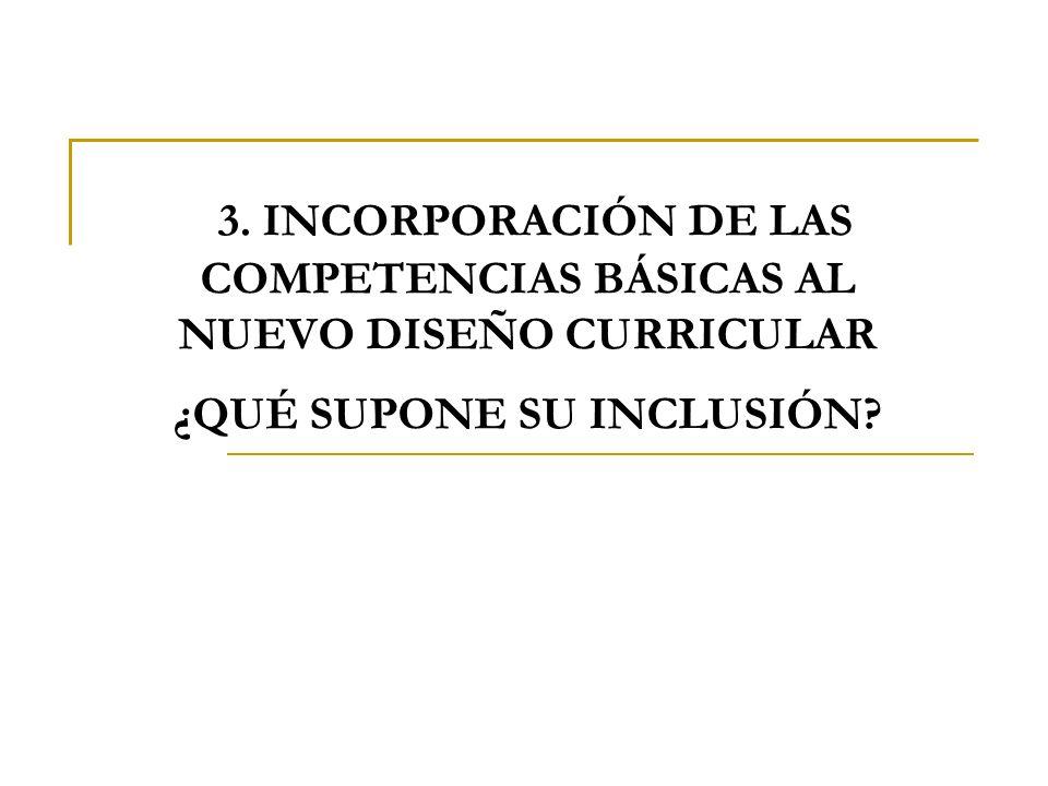 3. INCORPORACIÓN DE LAS COMPETENCIAS BÁSICAS AL NUEVO DISEÑO CURRICULAR ¿QUÉ SUPONE SU INCLUSIÓN?