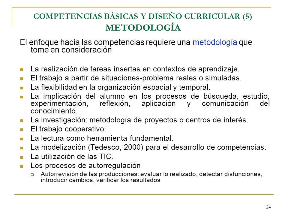 24 COMPETENCIAS BÁSICAS Y DISEÑO CURRICULAR (5) METODOLOGÍA El enfoque hacia las competencias requiere una metodología que tome en consideración La re