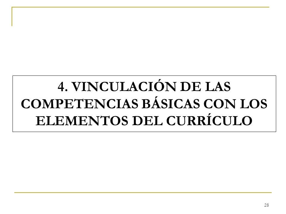28 4. VINCULACIÓN DE LAS COMPETENCIAS BÁSICAS CON LOS ELEMENTOS DEL CURRÍCULO