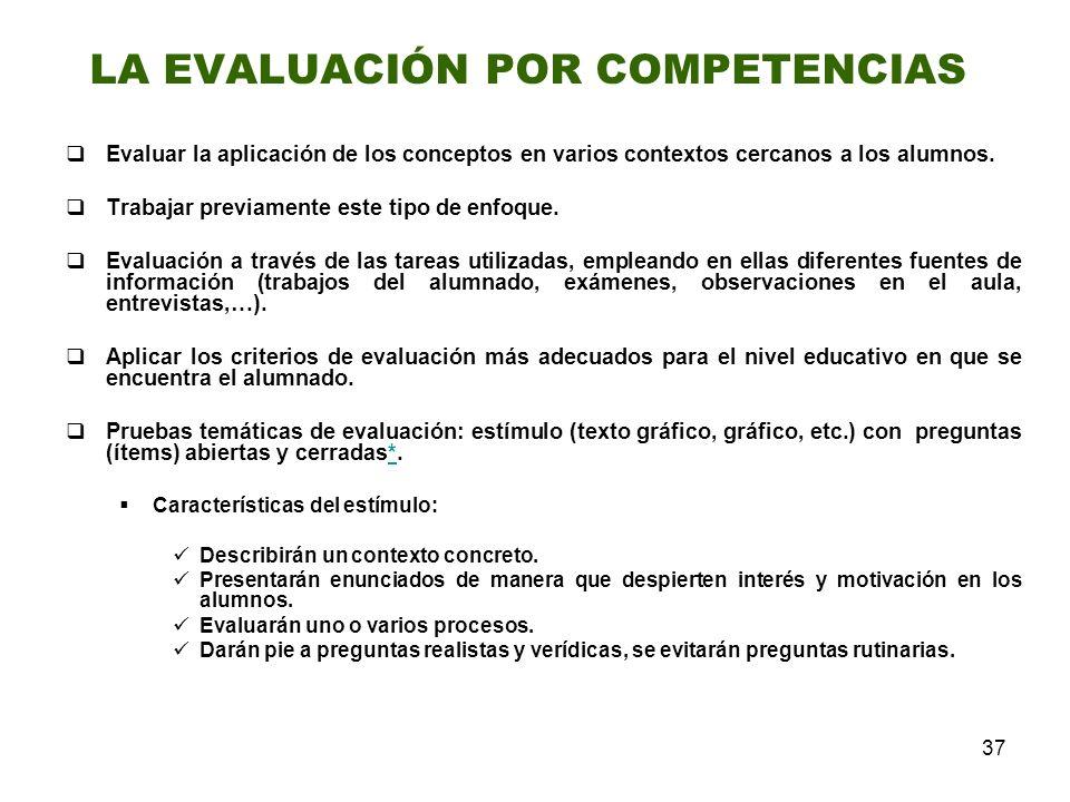 37 Evaluar la aplicación de los conceptos en varios contextos cercanos a los alumnos. Trabajar previamente este tipo de enfoque. Evaluación a través d