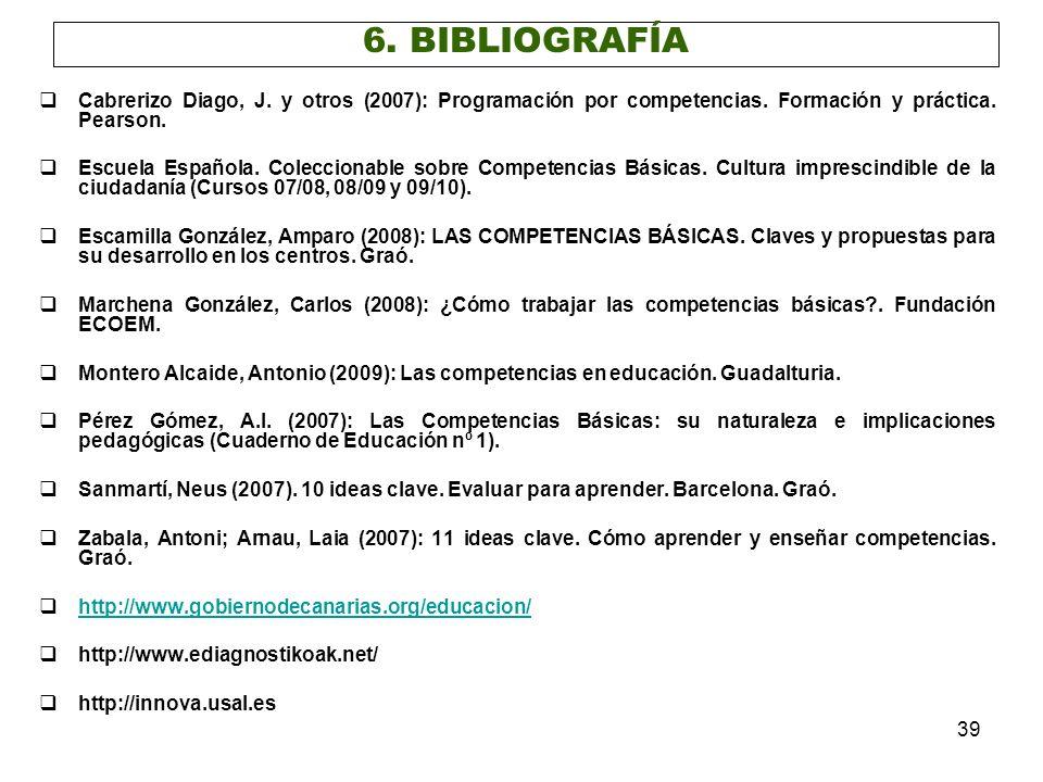 39 Cabrerizo Diago, J. y otros (2007): Programación por competencias. Formación y práctica. Pearson. Escuela Española. Coleccionable sobre Competencia