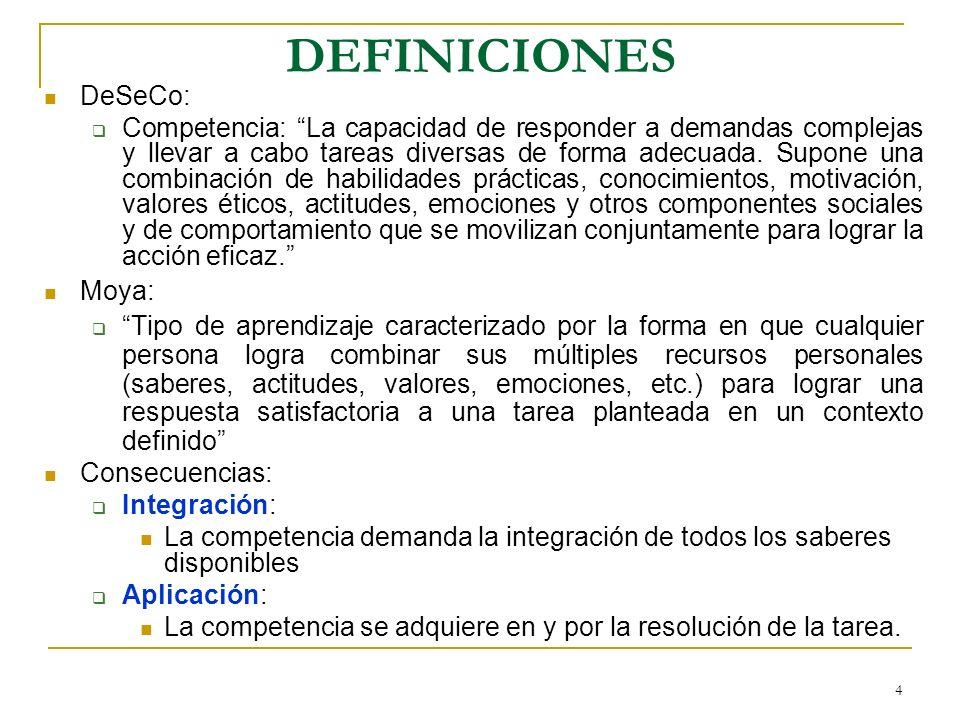 4 DEFINICIONES DeSeCo: Competencia: La capacidad de responder a demandas complejas y llevar a cabo tareas diversas de forma adecuada. Supone una combi