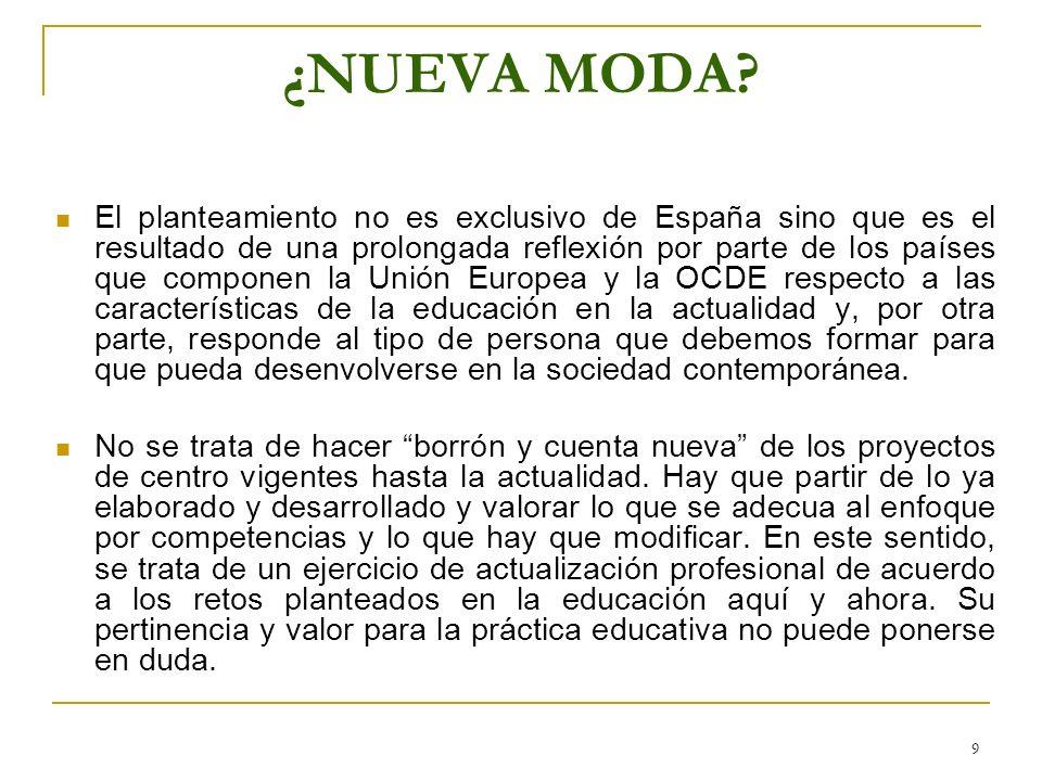 9 ¿NUEVA MODA? El planteamiento no es exclusivo de España sino que es el resultado de una prolongada reflexión por parte de los países que componen la