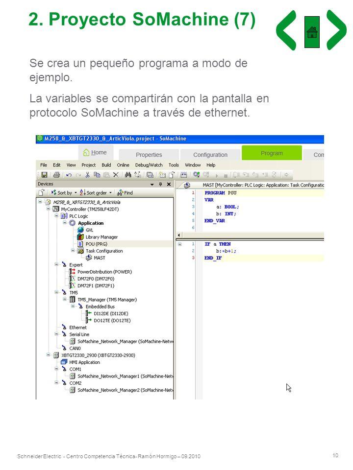 10 Schneider Electric - Centro Competencia Técnica- Ramón Hormigo – 09.2010 2. Proyecto SoMachine (7) Se crea un pequeño programa a modo de ejemplo. L