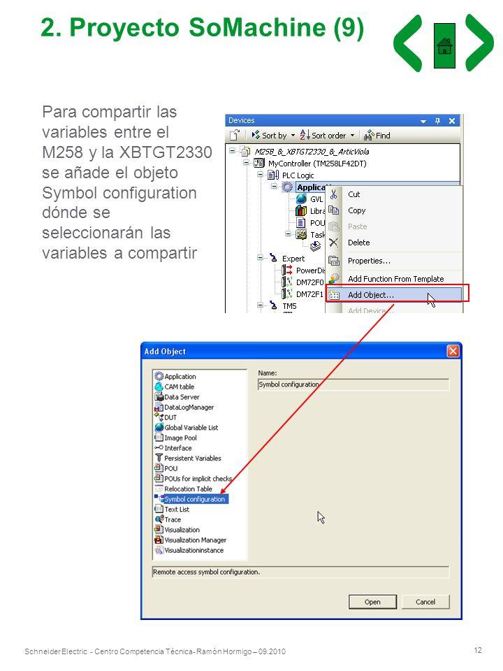 12 Schneider Electric - Centro Competencia Técnica- Ramón Hormigo – 09.2010 2. Proyecto SoMachine (9) Para compartir las variables entre el M258 y la