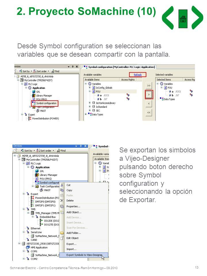 13 Schneider Electric - Centro Competencia Técnica- Ramón Hormigo – 09.2010 2. Proyecto SoMachine (10) Desde Symbol configuration se seleccionan las v